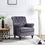 Classic Tufted Velvet Fabric Accent Chair, Living Room Armchair with Nailheads (Grey)