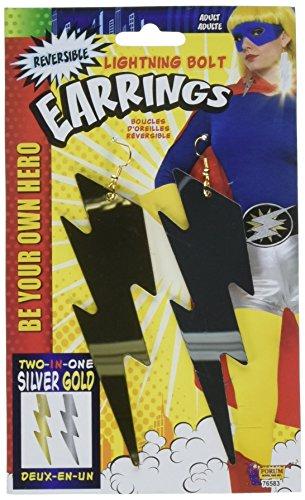 Forum Novelties, Womens Be Your Own Superhero Lightning Bolt Dangle Earrings Costume Accessory ()
