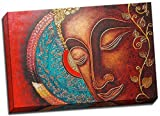 Panther Print Buddha Canvas Print Red Thai Style Large 30X20 Inches A1