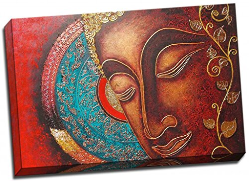 Panther Print Buddha Canvas Print Red Thai Style Large 30X20 Inches A1 by Panther Print