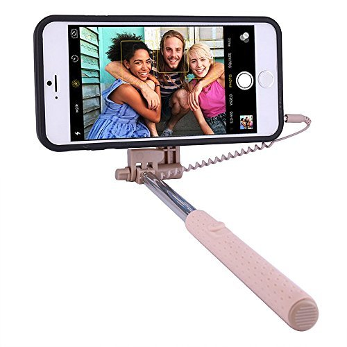 PROG-X iPhone 6S Plus Selfie Stick, Portable Extendable Monopod Wired Selfie Stick Case Cover for Apple iPhone 6 Plus / iPhone 6S Plus (Gold)
