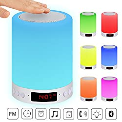 ACTOPP LED Bluetooth Speaker Touch Sensor Bedside Lamp Dimmable Warm Light Colorful Night Light Mood light 7 Colors Chaging Smart Touch DIY Alarm Clock FM Hands-free Timing Function