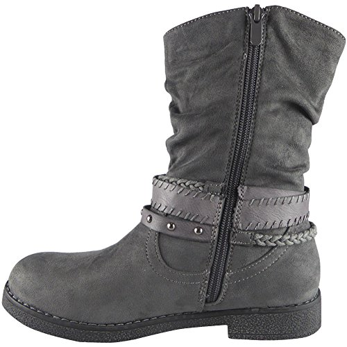 Womens Studs Mid Calf Flat Ankle Boots Size 3-8 Grey 3IxiH