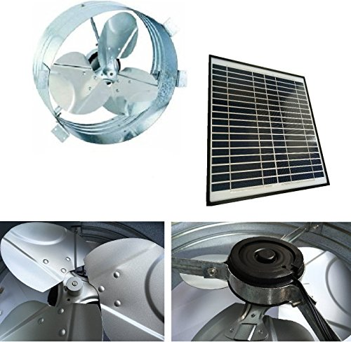 Brightwatts Galvanized Steel Rust Prevention and High Efficiency Blades Solar Gable Attic Fan, Brushless DC Motor by Brightwatts