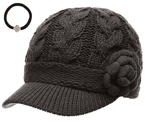 J Fashion Women's Cable Knitted Double Layer Visor Beanie Hats with Hair Tie (Rossette Floral, Charcoal) (Visor Beanie Fleece)