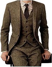 Men's Tweed Herringbone Check Tan Tuxedos Groom Slim Fit Formal Vintage 3 Pieces Suit