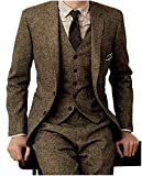 Yunjia Men's Tweed Herringbone Check Tan Tuxedos Groom Slim Fit Formal...