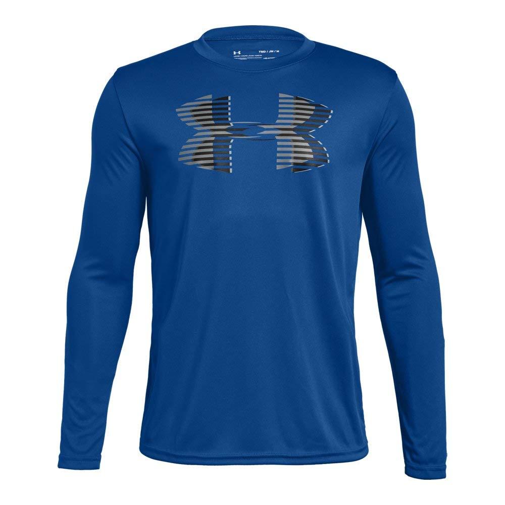 Under Armour Boys' Tech Big Logo Long sleeve Shirts, Royal (400)/Graphite, Youth X-Small