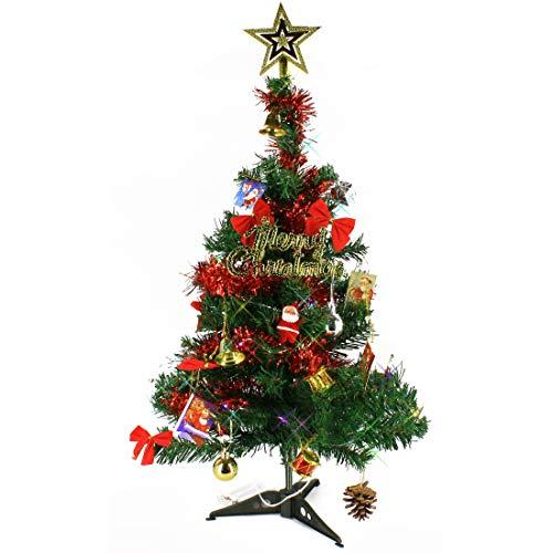 Wideskall Tabletop Green Christmas Pine Tree with Multi-Color 30 LED Lights, 2 Feet