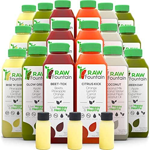 RAW Fountain 7 Day Juice Cleanse, 100% Natural Raw, Cold Pressed Fruit & Vegetable Juices, Detox Cleanse Weight Loss, 42 Bottles, 16oz +7 Ginger Shots