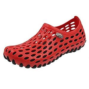 Amoji Shower Water Shoes River Aqua Sandals Summer Beach Outdoor Clogs Wet Sport Slip On Gym Female Men Women Ladies Girls Male BlackRed 7.5US Women/6.5US Men