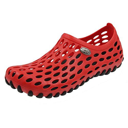 Amoji Shower Water Shoes River Aqua Sandals Summer Beach Outdoor Clogs Wet Sport Slip On Gym Female Men Women Ladies Girls Male BlackRed 5.5US Women/4.5US Men