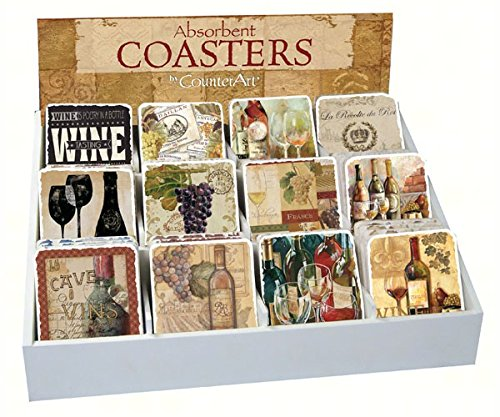 Counter Art CART91704 Wine Assortment With Counter Display - 72 Coasters by CounterArt