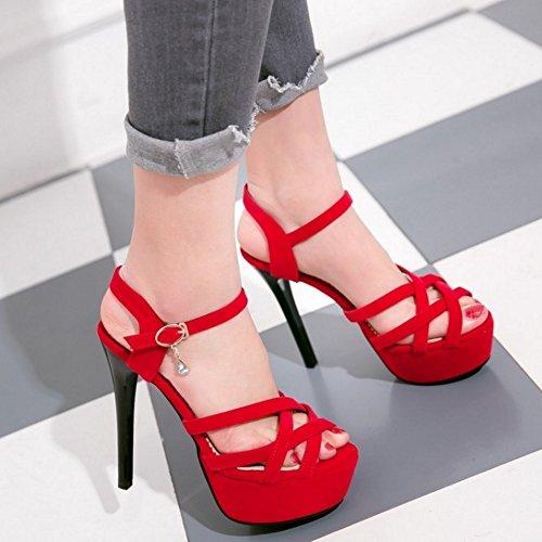 Soiree Femmes Aiguille Talons Hauts Red Sandales Taoffen WRU7TCnwqT