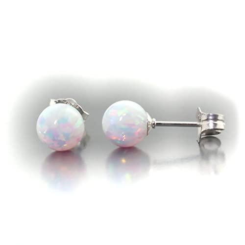 Trustmark 14k White Gold 6mm Fiery White Created Opal Ball Stud Post Earrings, Lorraine