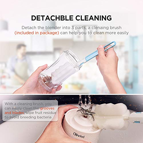 Olivivi Portable Blender, Multifunctional Personal Blender Mini Smoothie Blender 6 Powerful Blades, 4000mAh Rechargeable USB Juicer Cup Bottle with strainer Cleaning Brush for Travel BPA Free White