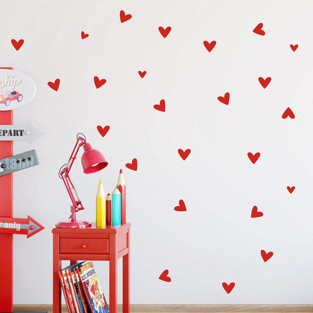 MONsin Baby Wall Sticker, 22 PCS Love Heart DIY Wall Stickers Quote Kids Cute Self - Adhesive Instant Wall Decal Sticke Words Kids Bedroom Living Room (red)