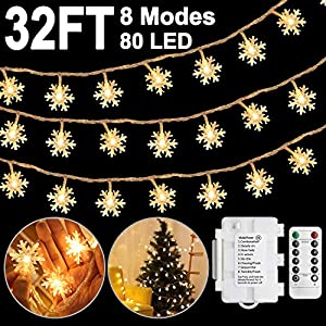 [8 Mode 32FT] Snowflake Christmas Lights Outdoor Christmas Decoration Indoor with 80 LED, Snowflake Decorations LED Fairy Lights, Xmas Window Decorations Batteries Operated Christmas Lights String