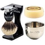 Anbbas Shaving Set,Silver tip Badger Shaving Brush Resin Alloy Handle,Black Acrylic Shaving Stand and Bowl Stainless Steel Dia 3.2'' with 100g Natural Shaving Soap 4in1 for Men