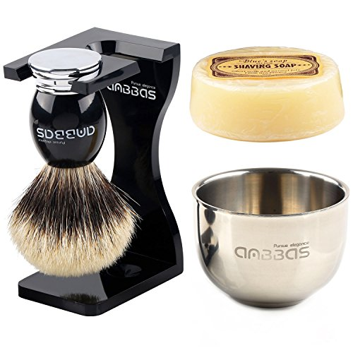 "Anbbas Shaving Set,Silver tip Badger Shaving Brush Resin Alloy Handle,Black Acrylic Shaving Stand and Bowl Stainless Steel Dia 3.2"" with 100g Natural Shaving Soap 4in1 for Men"