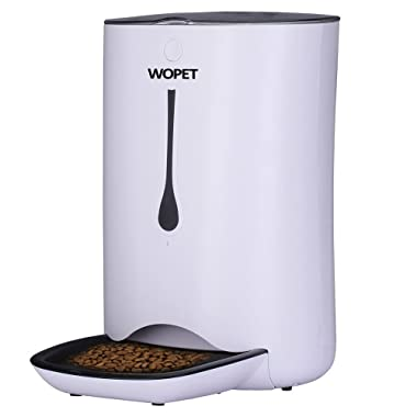 WOpet 7L Automatic Pet Feeder Food Dispenser for Cats and Dogs–Features: Distribution Alarms, Portion Control, Voice Recorder, Programmable Timer for up to 4 Meals per Day