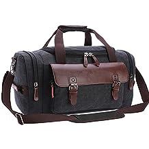 Aidonger Unisex Vintage Canvas Duffel Bags Casual Handbags (Black)