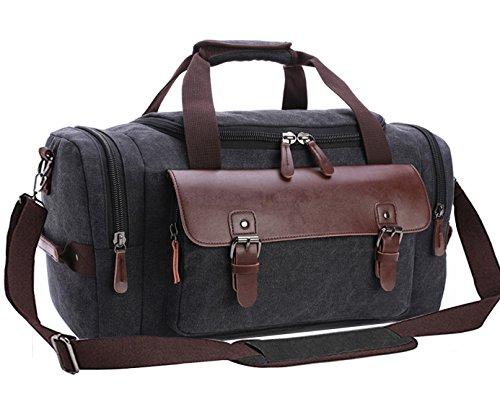 Canvas Duffel Bag, Aidonger Vintage Canvas Weekender Bag Travel Bag Sports Duffel with Shoulder Strap (Black-21)