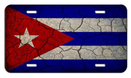 Cuba Flag License Plate (Cuba Flag Crackled Design License Plate)