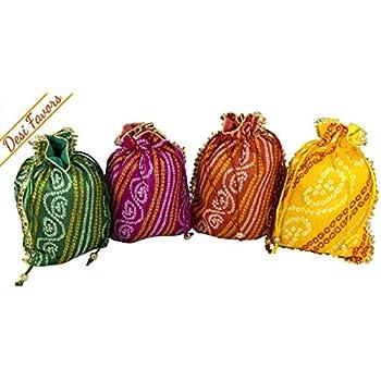 1aa19da858 Amazon.com  Desi Favors Set of 4 Assorted Potlis batwa Drawstring ...