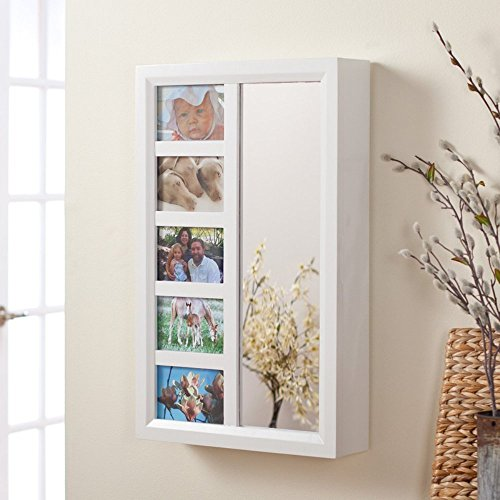 Photo Frames Wall Mount Jewelry Armoire Mirror - High Gloss White - 16W x 24H in.