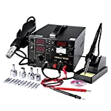 Mbuynow 3 in 1 Soldering Station Solder Rework Tool Set with Hot Air Gun Welder Power Supply, 4 Nozzles + 11 Iron Tips