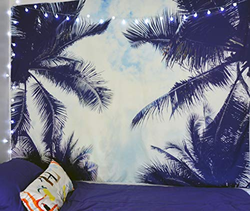 Beach Tapestry - Palm Tree Leaves Leaf surf Hawaiian Tropical Cool Wall Hanging Decor Trippy Outdoor Hawaii Sunset for Dorm Room College, Boho Psychedelic Wall Decorations for Bedroom (6.5 ft x 5 ft) -