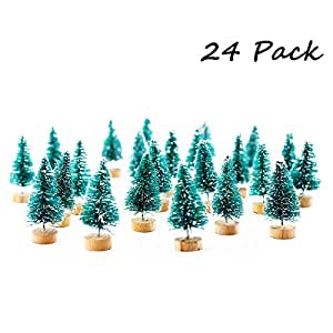 Etmact 24pcs Mini Pine Trees Frosted Sisal Trees with Wood Base Bottle Brush Trees Plastic Winter Snow Ornaments Tabletop Trees for Crafting, Displaying and Decoration