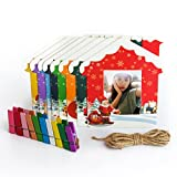 Woodmin Instax 3-inch Wall Decor Hang Frame for Fuji Instant mini/Pringo 231/SP1/Polaroid PIC-300P/Z2300 Films(Christmas, 9 pcs)