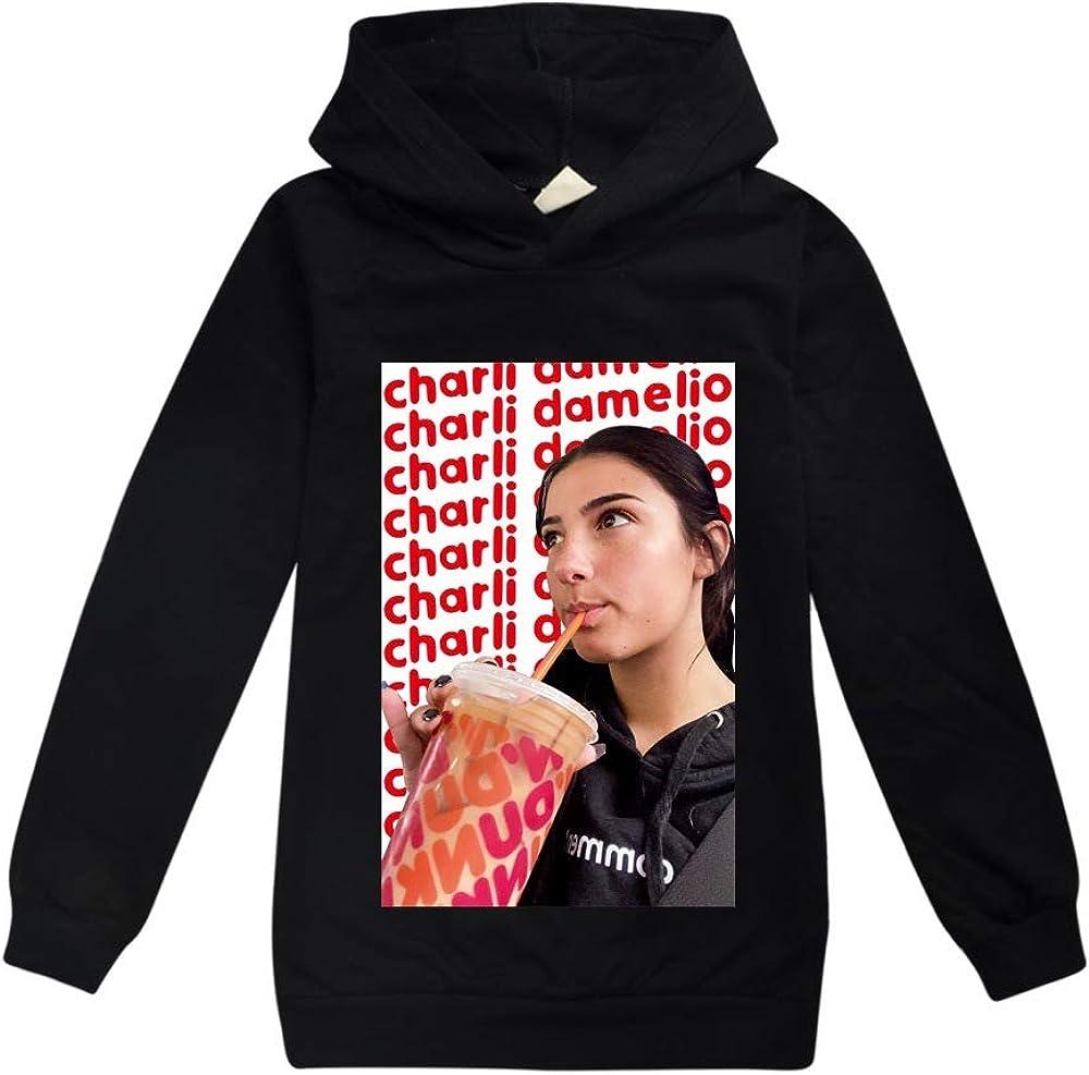 Charli DAmelio Childrens Sweaters Age 3-15 Years Girls Casual Cotton Hoodies