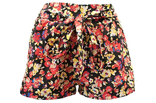 Ci Sono By Cavalini Womens Floral shorts with belt. SH10896 small black combo