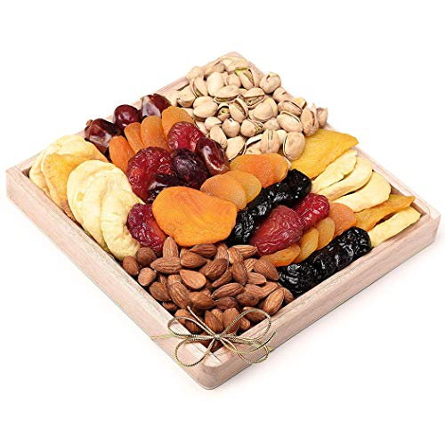 Milliard Dried Fruit & Nut Deluxe Gift Platter Arrangement on Pine Wood Tray for any Occasion including New Years, Valentines Day, Mothers Day and Holiday - 24 Ounce Assortment