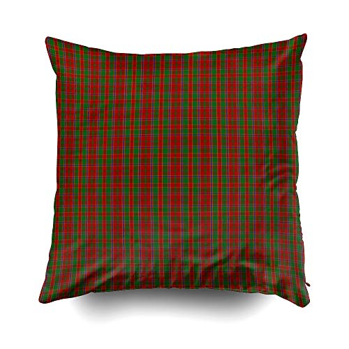 EMMTEEY Home Decor Throw Pillowcase for Sofa Cushion Cover, Halloween Clan Monro Tartan Decorative Square Accent Zippered and Double Sided Printing Pillow Case Covers -