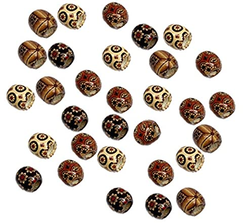 Rockin Beads 90 Wood Large Hole Macrame Beads 16mm Mixed Colors Painted (Beads Large Assortment)