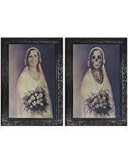 Halloween Scary Decorations Haunted House Props 3D Face Changing Picture Frame Portrait Monster Haunted Spooky Decorations for Horror Theme Party Home Decor