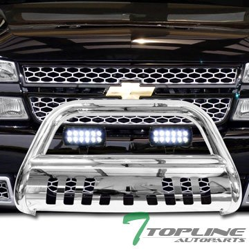 Topline Autopart Stainless Steel Chrome HD Bull Bar Brush Push Front Bumper Grill Grille Guard V2 w/ Skid Plate + 36W Cree LED Fog Light Lamp 99-07 Chevy Silverado Suburban GMC Sierra (06 Silverado Push Bar)