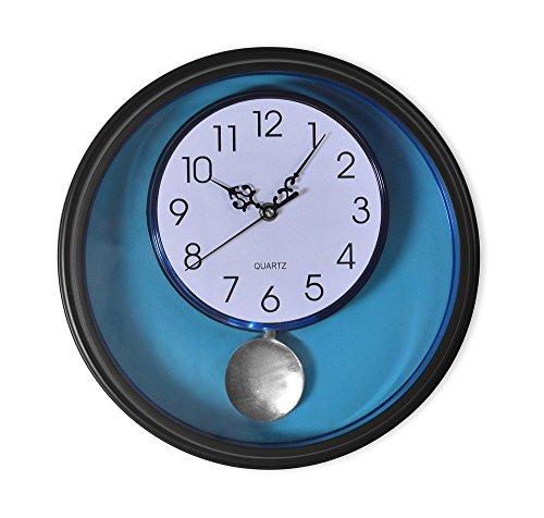 @Home Plastic Pendulum Wall Clock (6 cm x 30.99 cm x 30.99 cm, Black)