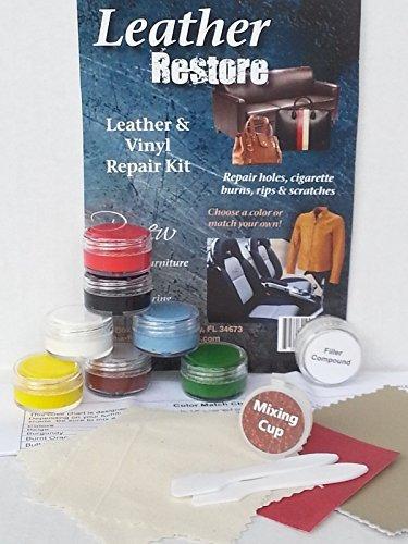 Leather & Vinyl Repair Kit Fix Rips Burns Holes Car Boat Seat Leather Furniture