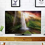 PRUNUS Cord Cover for Wall Mounted tv Beautiful and Dramatic Sunset in Seljalandsfoss Waterfalls,Iceland Cover Mounted tv W32 x H51 INCH/TV 55""