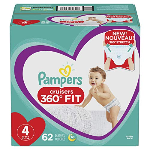 Pampers Pull On Diapers Size 4 - Cruisers 360˚ Fit Disposable Baby Diapers with Stretchy Waistband, 62Count Super Pack