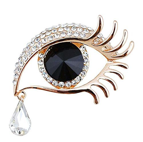 Da.Wa Angal'Tear Big Eyes Long Eyelash Brooch Rhinestone Diamond Corsage Pin for Women Lady (Rhinestone Eyes Brooch)