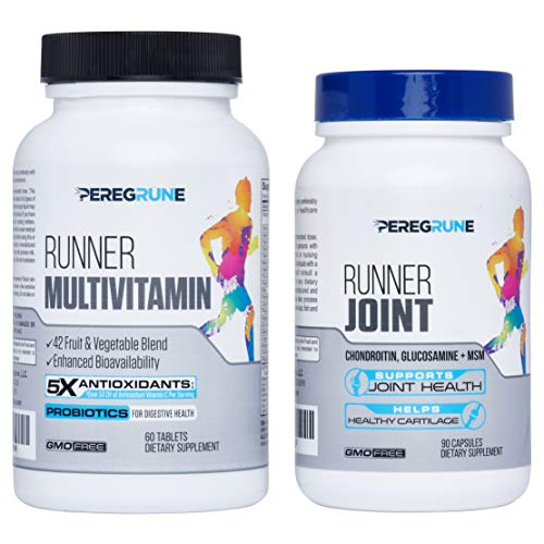 Runner Multivitamin & Joint Support Bundle | Engineered for Runners | Antioxidants: Vitamin C (5X), Vitamin E (2X) | Energy & Vo2 Max: Vitamin B12 (10x) | Joint & Cartilage Support | GMP Certified