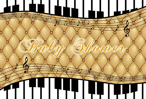 (Baocicco 5x4ft Baby Shower Golden Grids Photography Backdrop Background Black and White Melodies Piano Keyboard Gender Reveal Boy or Girl Prince or Princess Man or Woman Polyester Photo Studio Prop)