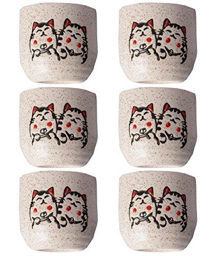 Cute Cat Pattern Serving Gift Sake Cups Set of 6 by East Majik (Image #2)