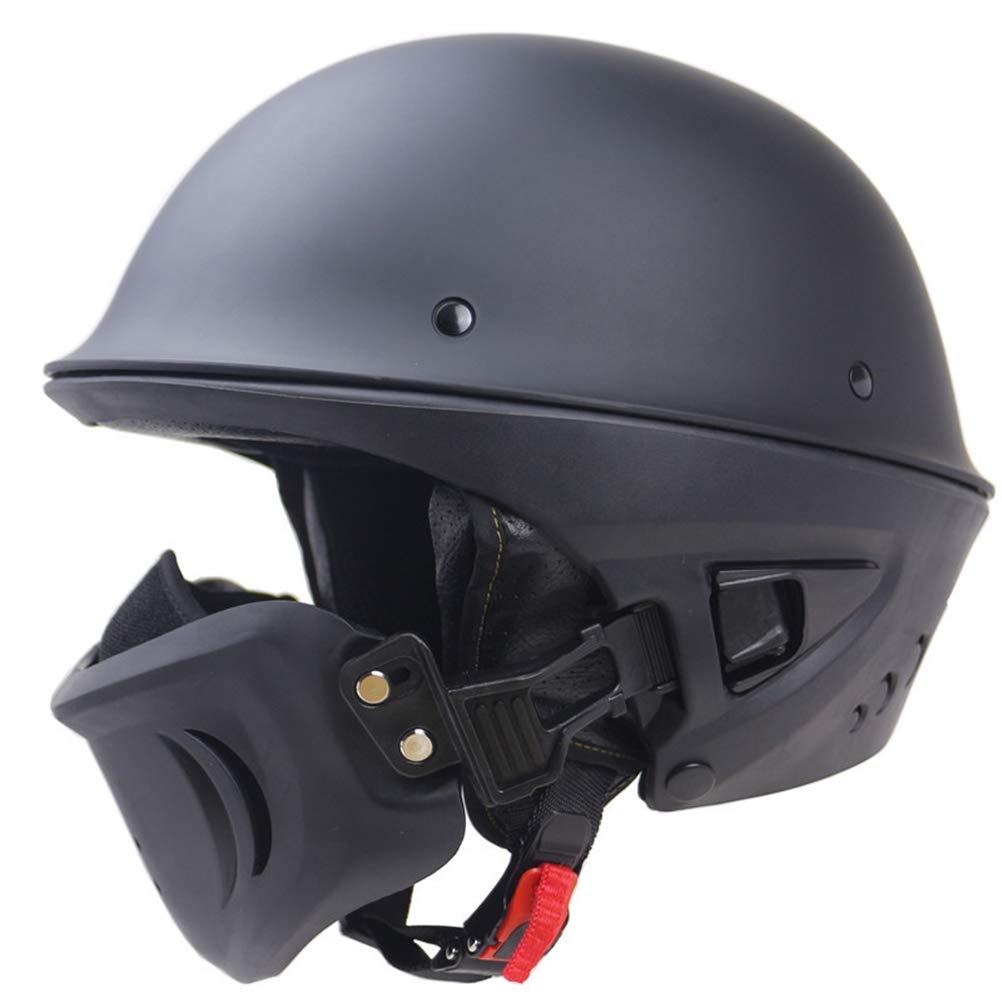 バイクヘルメット ハーフヘルメット 半キャップ ヘルメッ 半帽ヘルメット ト 防寒イヤーカバー付き B07QWRWFS4 Medium|ブラック ブラック Medium